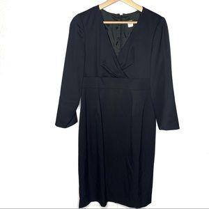 J. Crew black wool sheath midi dress